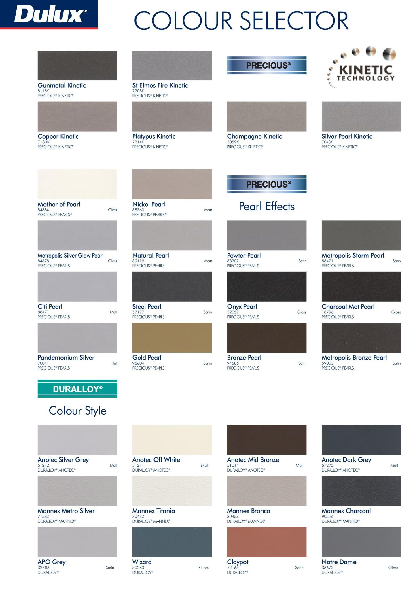 Dulux Color Selector Page Of Brochure With Different Color Shades