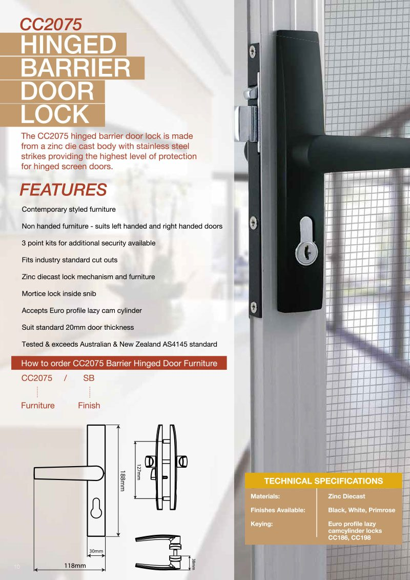 Product Brochure For CC2075 Hinged Barrier Door Lock