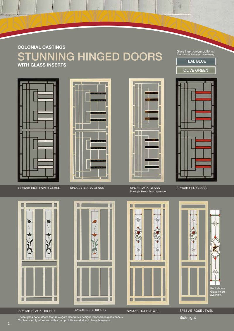 Brochure Of Colonial Hinged Door Design With Glass Inserts