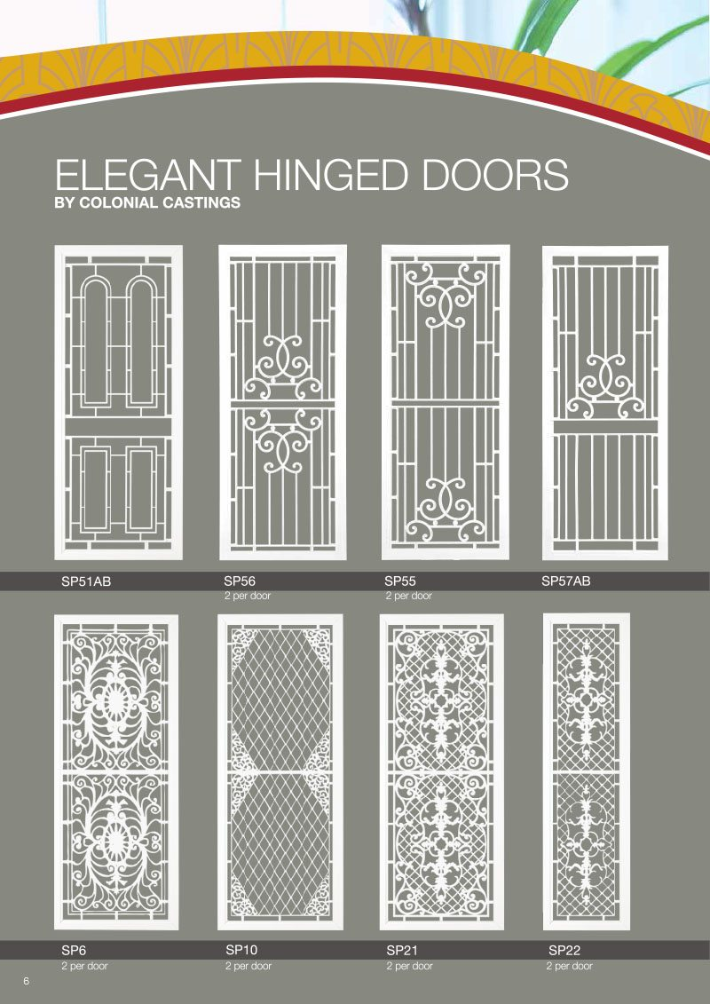 Colonial Casting Elegant Hinged Door Design Ideas On Brochure