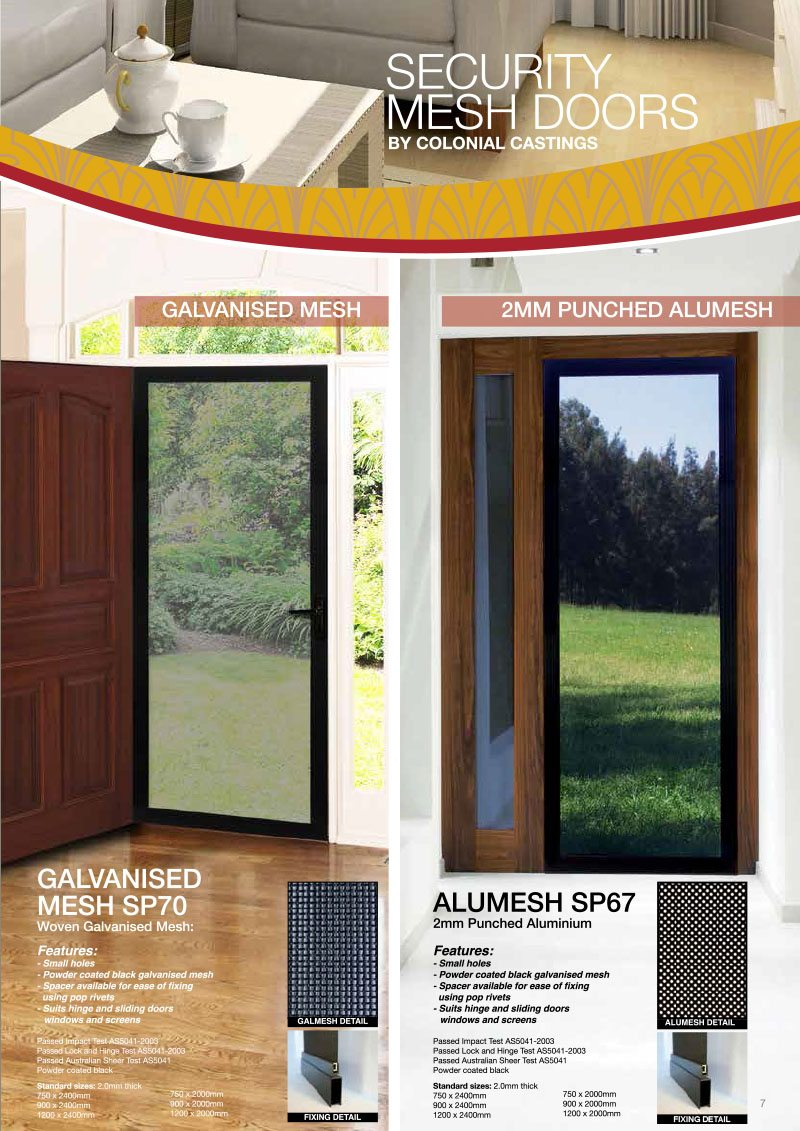 Product Brochure For Security Mesh Doors By Colonial Casting