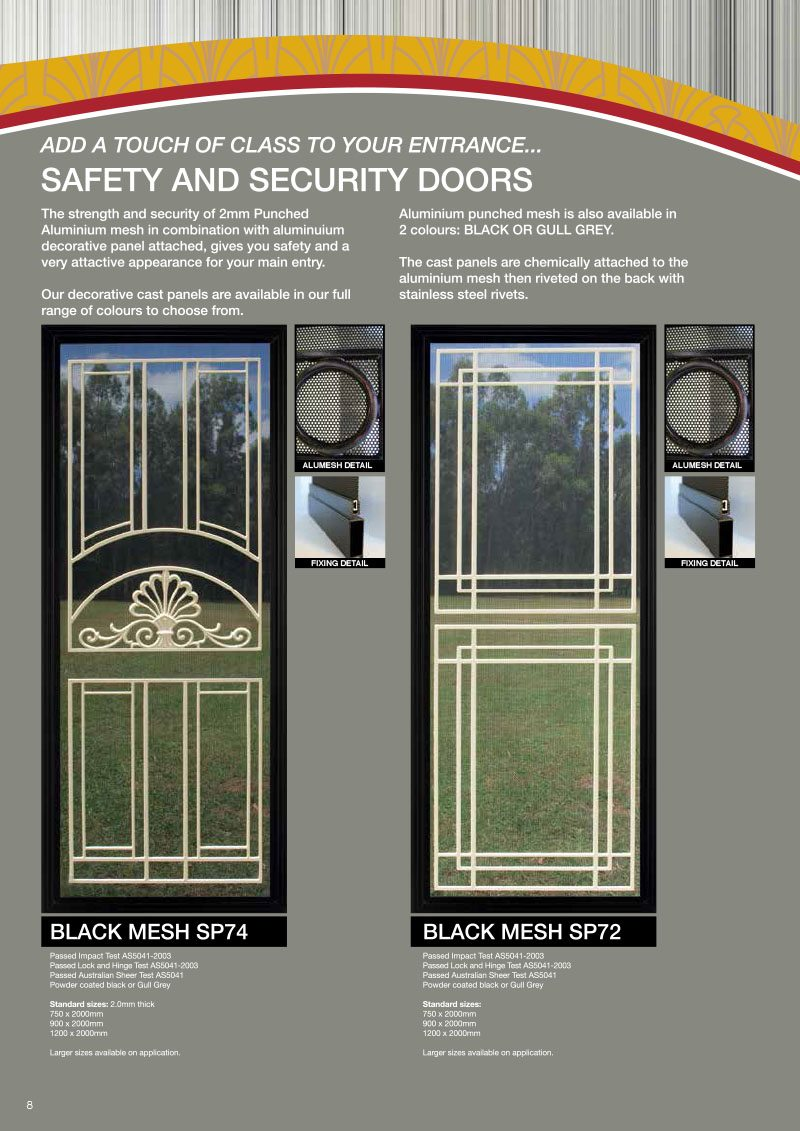 Back Mesh Product Brochure For Security Screen Doors