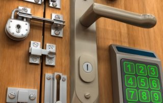 3d Image Of Multiple Locks On A Wooden Door