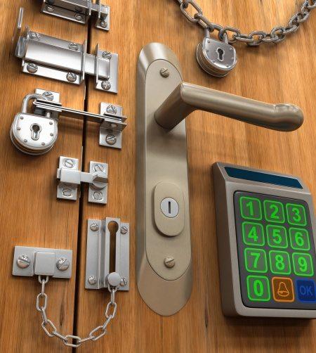 3d Image Of Multiple Locks On A Wooden Door